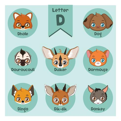 Dierlijk portretalfabet - Brief D vector