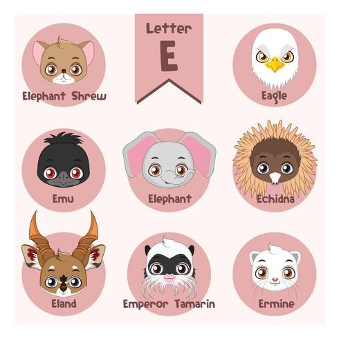 Dierlijk portretalfabet - Brief E vector