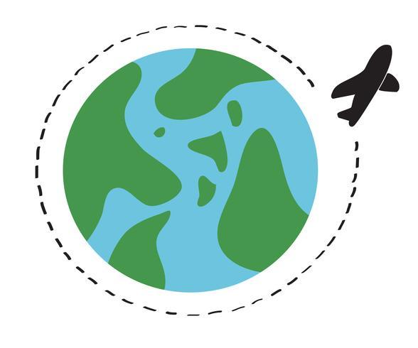 vliegtuig reizen rond de wereld symbool vector