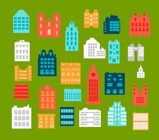 Vlakke stijl stadsgebouwen vector