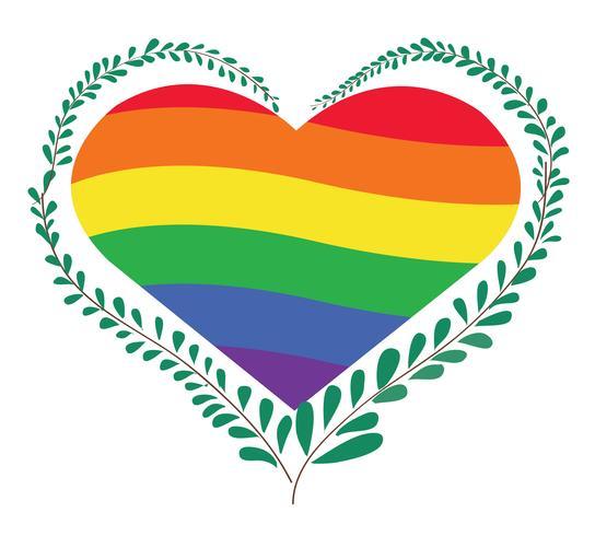 regenboogvlag LGBT-symbool op het hart vector