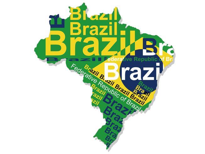 Kaart van Brazilië. vector