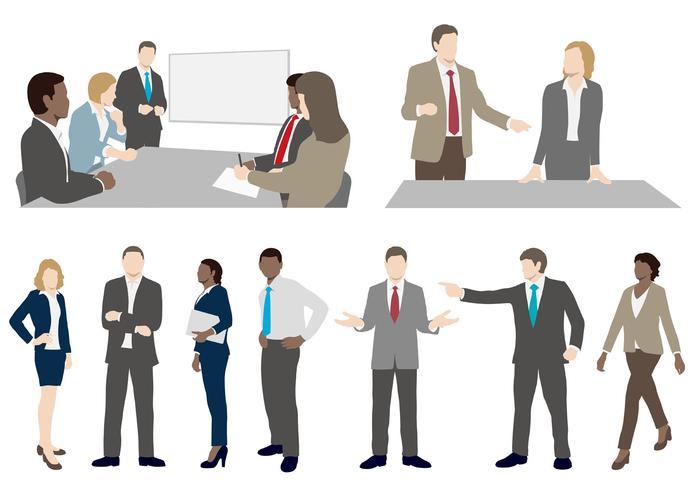 Set van mensen uit het bedrijfsleven in vlakke stijl. vector