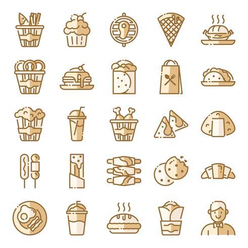 Fastfood pictogrammen pack vector