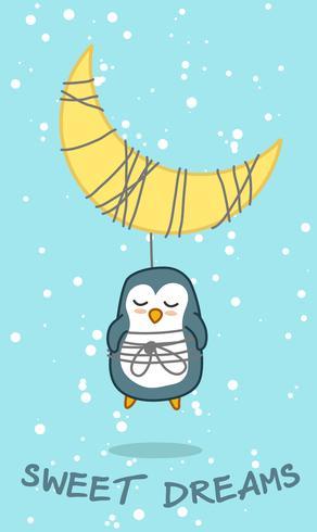 Pinguïn en maan in zoet droomthema. vector