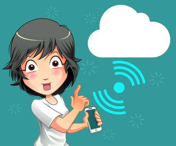 Mobiele telefoon- en cloudverbindingstechnologie. vector