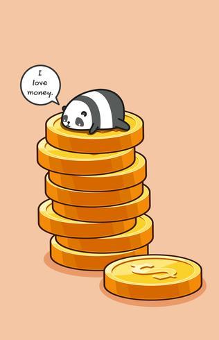 Panda bovenop munten. vector
