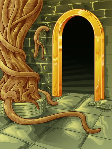 Vector de grote boom in lettertype van grot ingang.