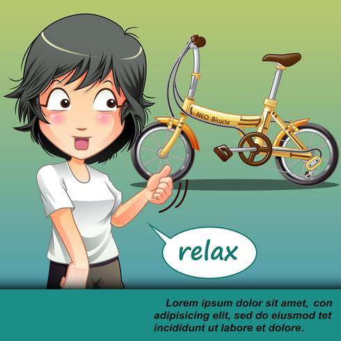 Ze praat met iemand die met haar meegaat om op de fiets te rijden. vector