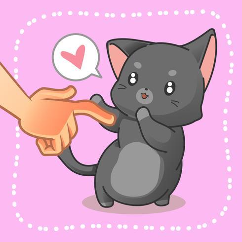 Iemand raakt een kleine kat aan. vector
