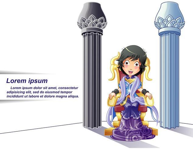Prinsessenkarakter op beeldverhaalstijl en pijlersachtergrond. vector