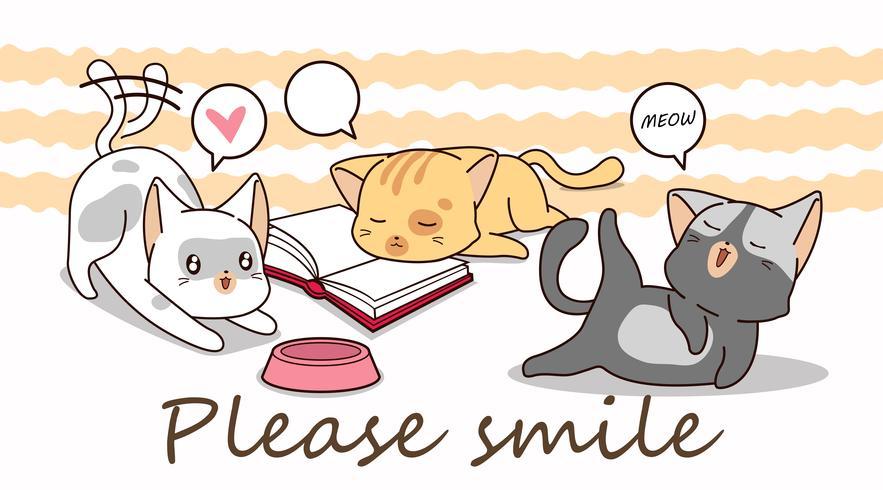 3 kleine katten stripfiguren. vector