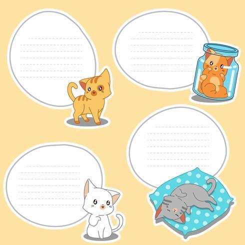 4 papieren blanco van getekende kleine katten. vector