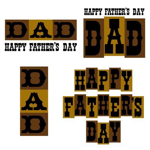Gelukkige de typografiegrafiek van de Vaderdag bruin en goud vector