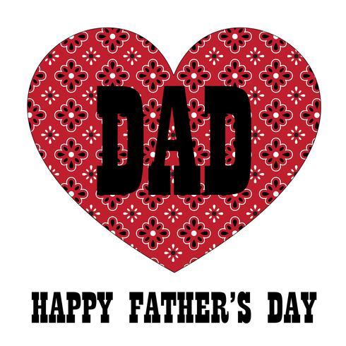 Vaderdagtypografie grafisch met rood bandanahart vector
