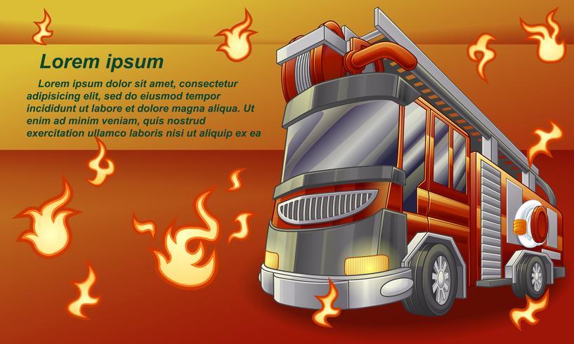 Brandvrachtwagen op oranje achtergrond. vector