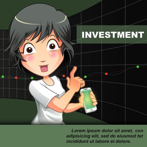 Iemand nodigt u uit om te beleggen met de achtergrond van de grafiek. vector