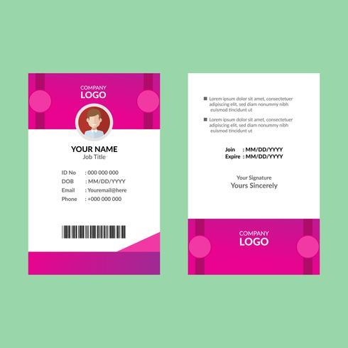 Roze identiteitskaart sjabloon 25 vector