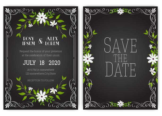 Bruiloft uitnodigingskaart Floral hand getekende frame. vector