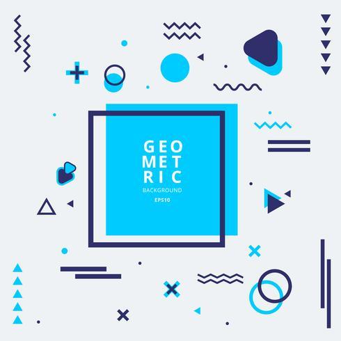 Abstracte blauwe geometrische vormsamenstelling met lijnen en golvende vlakke stijl op witte achtergrond. vector