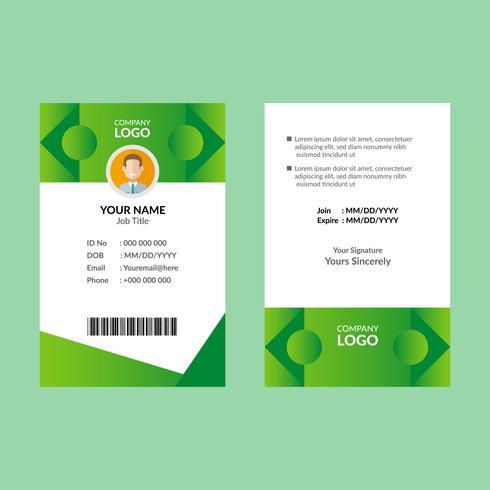 Groene ID-kaartsjabloon vector