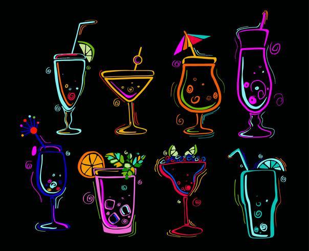 Set van neon cocktails. vector