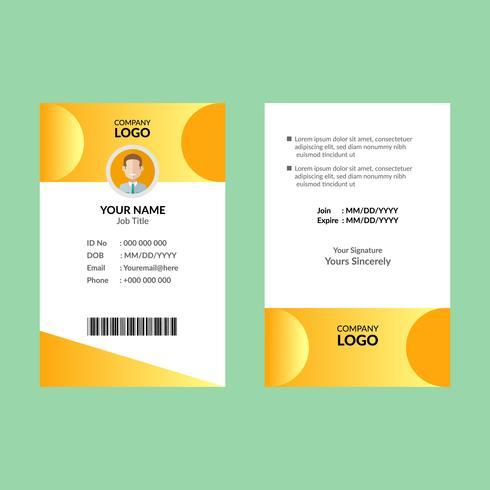 Geel ID-kaartontwerp vector
