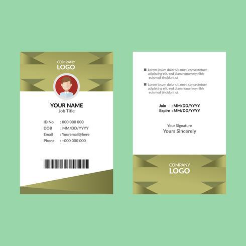 Olijf ID-kaartsjabloon vector