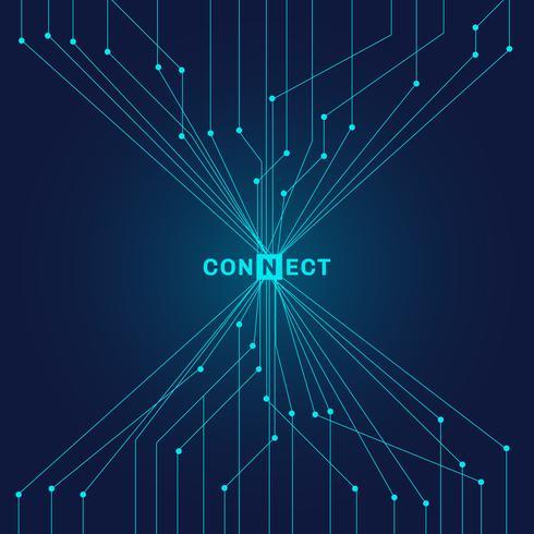 Abstracte futuristische blauwe kringsraad op donker achtergrond digitaal technologie verbindend concept vector