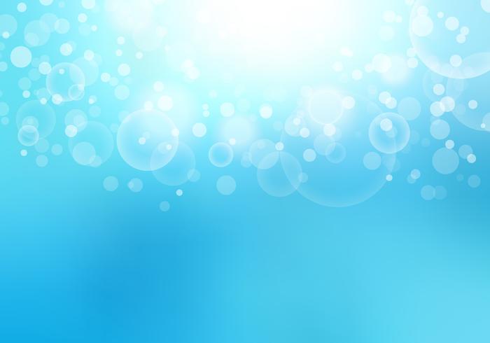 Het abstracte zonlicht vertroebelde blauwe hemelachtergrond met het effect van bokehlichten en exemplaarruimte. vector