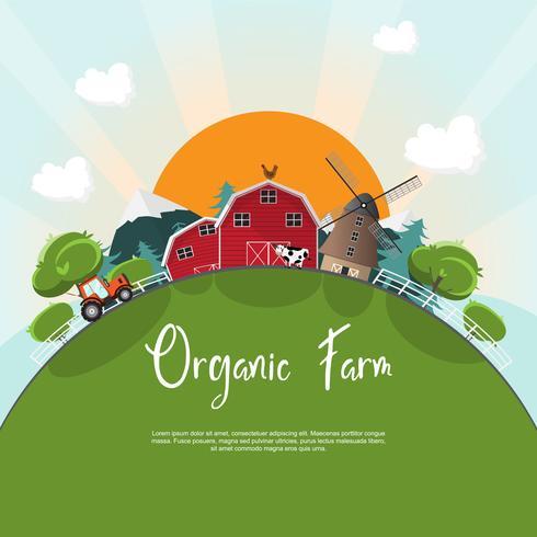 landschap platteland natuurlijke boerderij met grote zon vector