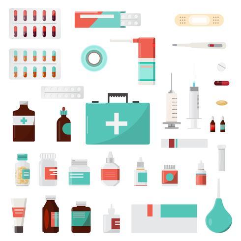 Set van geneeskundeflessen, drugs en pillen, apotheek, drogisterij vector