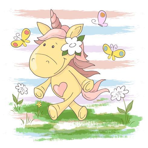 Leuke de eenhoornbloemen en vlinders van het briefkaart. Cartoon stijl vector