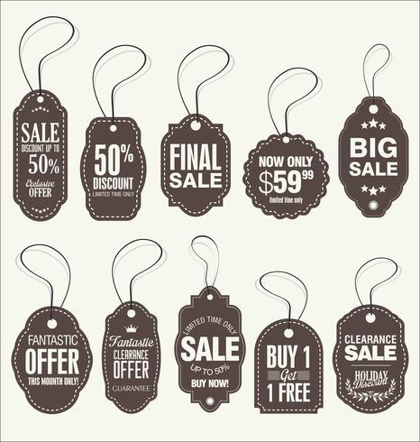 Vintage stijl verkoop Tags ontwerpen vector