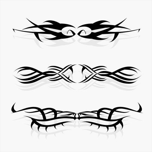 Patronen van tribal tattoo set. concept in gotisch met vleugel en vlieg vector