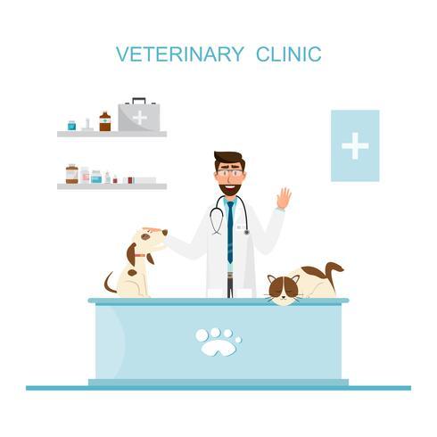 Dierenarts en arts met huisdier op teller in dierenartskliniek. vector