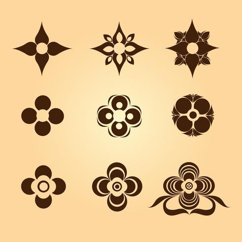 Florale symbolen en vormen vector