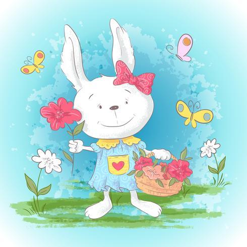 Schattige cartoon konijntjesillustratie met bloemen en vlinders. Afdrukken voor kleding of kinderkamer. vector