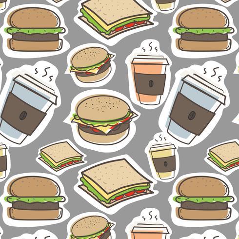 Hand getrokken fastfood en hamburgers patroon achtergrond. Vector illustratie.