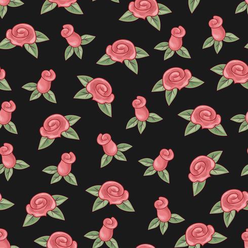 Rozen naadloze patroon op zwarte achtergrond. Handtekening. Vector illustratie