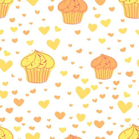 De achtergrond van het Cupcakespatroon, Leuk bakkerijpatroon, Vectorillustratie. vector