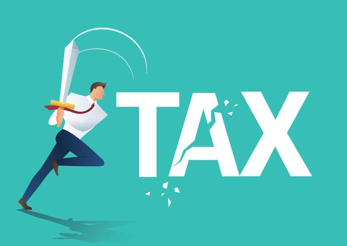 zakenman met behulp van zwaard gesneden belasting, bedrijfsconcept van het verminderen en het verlagen van belastingen vectorillustratie vector