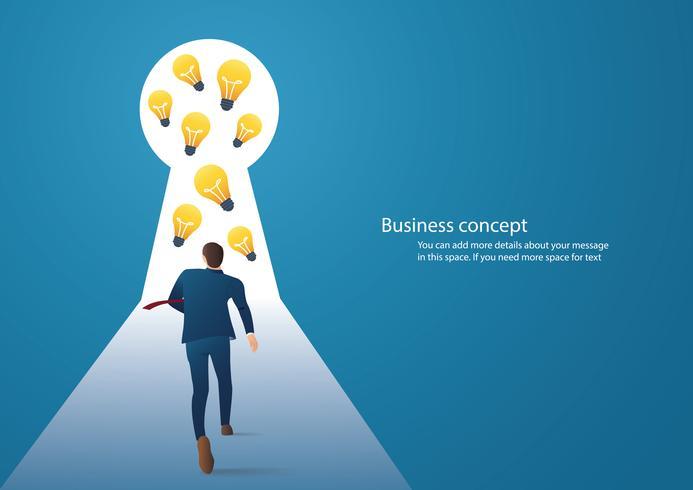 infographic bedrijfsconceptenillustratie van een zakenman die sleutelgat met helder licht lopen vector