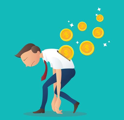 munt invoegen in de rug van de zakenman, bedrijfsconcept van loon salaris vectorillustratie vector