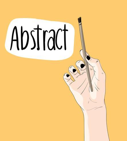 De hand die het penseel houdt trekt op een gele achtergrond. vector