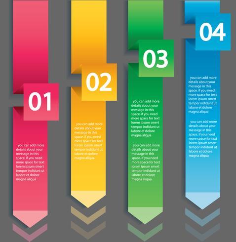 Pijl infographic concept. Vectormalplaatje met 4 opties, delen, stadia, knopen. Kan worden gebruikt voor web, diagram, grafiek, presentatie, grafiek, rapport, stap voor stap infographics. Abstracte achtergrond vector