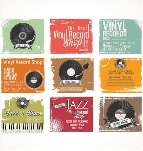 Vinyl platenwinkel retro grunge banner vector