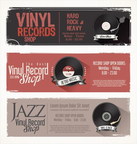 retro vinyl records badges vector