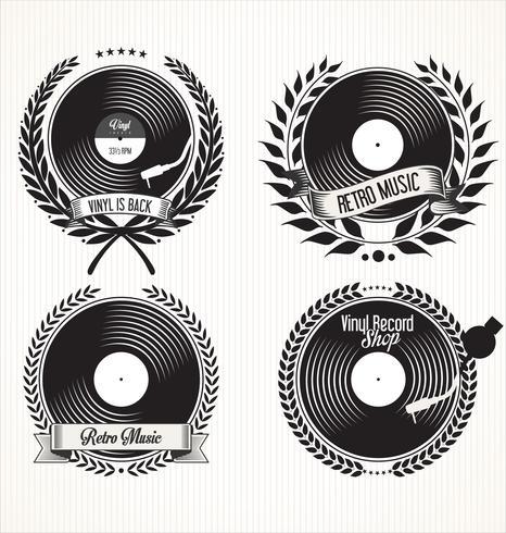 retro vinyl records badges vector