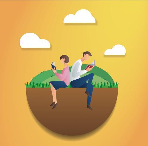 man en vrouw zitten in het park en het lezen van boek vector